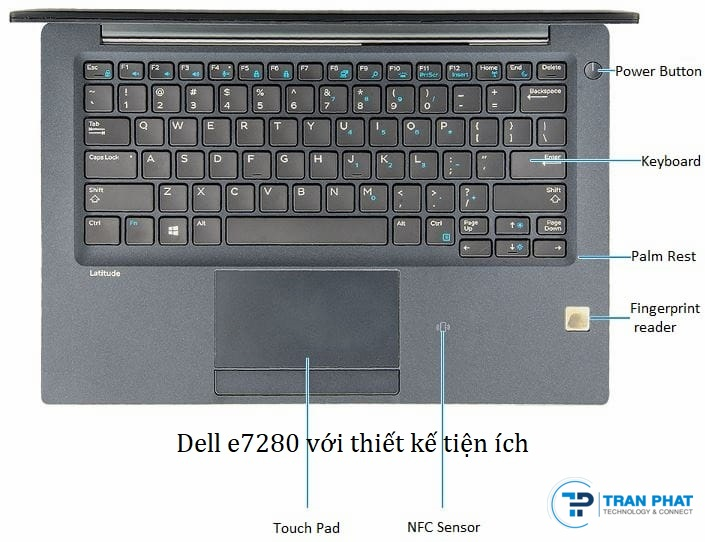dell e7280 i5 đen thiết kế bàn phím
