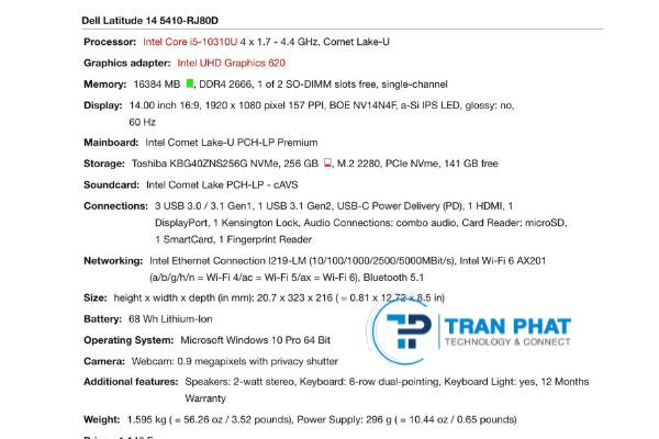 Dell latidue 5410 cấu hình mạnh