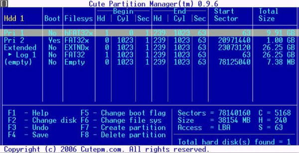 Phần mềm Cute Partition Manager