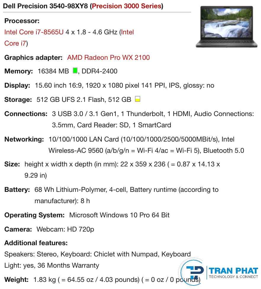 Dell precision 3540 cấu hình ổn